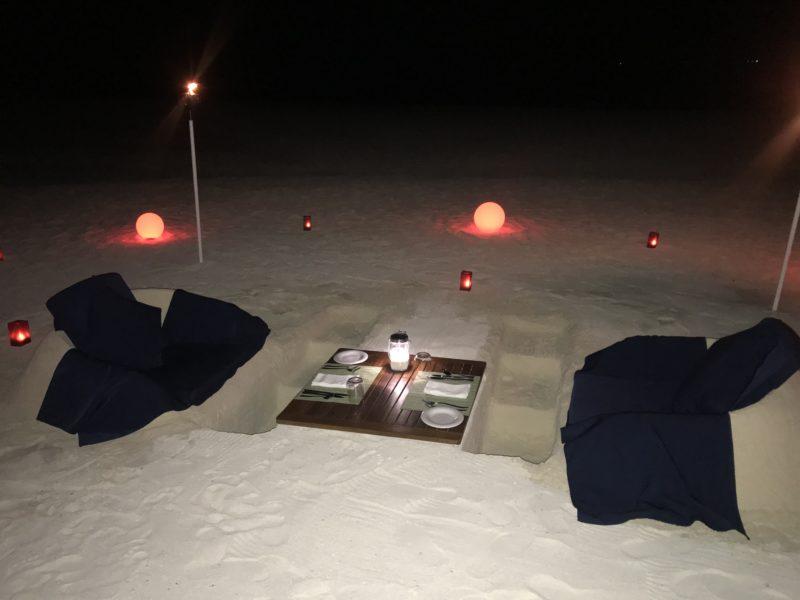 Velassaru Maldives beach dinner