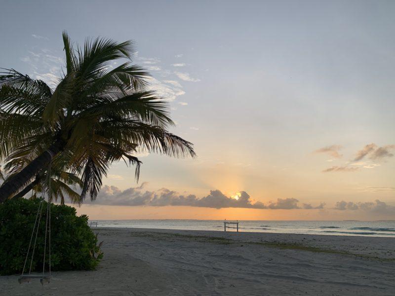 Sunrise in Maldives beach