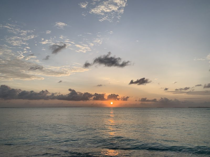 Orange color Sunrise in Maldives