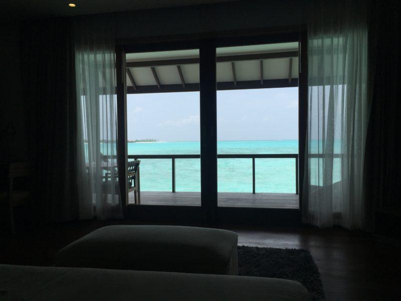 hideaway beach resort- water villa- view from bed
