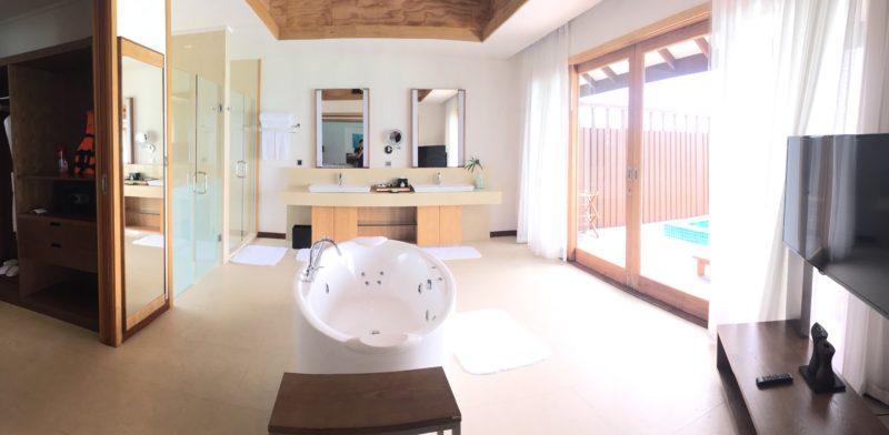 hideaway beach resort- water villa- bathroom