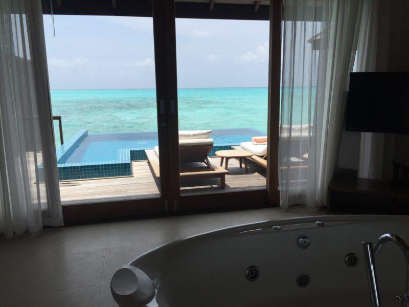 hideaway beach resort- water villa- view from bathtub