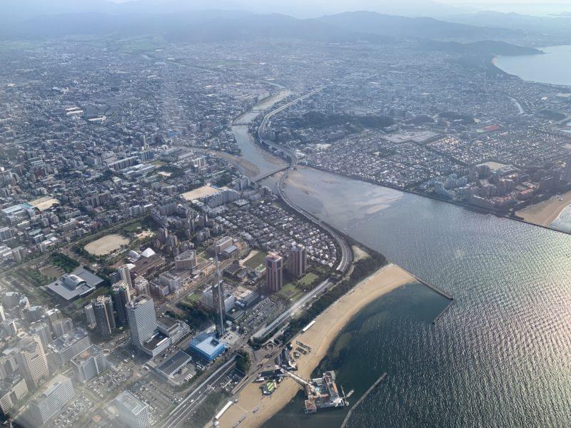 Fukuoka, Japan view from the flight