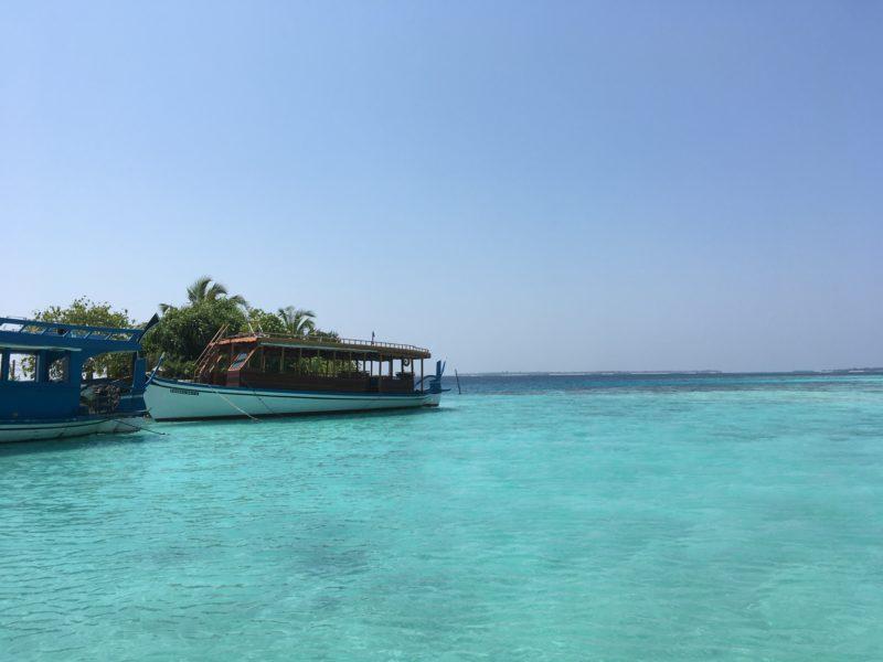Maldivian boat at the lagoon