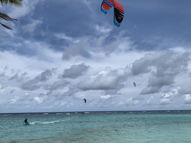 Kite surfers in Maldives